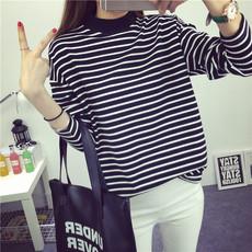 黑白条纹t恤女长袖宽松显瘦半高领韩版上衣服学生百搭打底衫春季