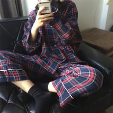 韩国ins经典条纹格子睡衣睡裤家居服两件套情侣装男女宽松卧室装