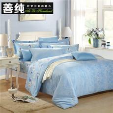 欧式简约竹纤维提花四件套奢华全棉贡缎床上用品超柔爽滑家纺套件