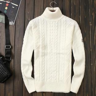 韩国代购秋冬新款高领针织毛衣韩版修身白色羊毛衫加厚粗线衣线男