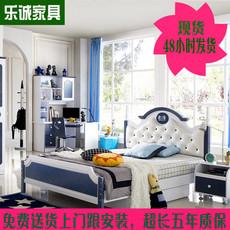 儿童床男孩王子蓝色单人床家具套房组合地中海欧式书桌1.2米1.5
