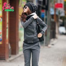秋冬加绒加厚卫衣女套装 韩版连帽开衫休闲运动服外套两件套潮