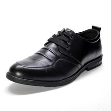 罗米欧男装秋冬季男士商务休闲皮鞋黑色系带舒适透气单鞋子X3A018