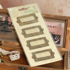 伊和诺☆韩版文具 DIY相册相框必备配件铁质金属标签框复古标签夹