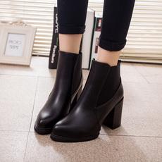 韩版2016新款显瘦高跟尖头女靴春款粗跟女士短靴尖头马丁靴裸靴子