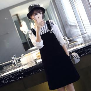 春秋新款韩版大码女装背带纯棉修身显瘦包臀连衣裙中长款纯色裙子