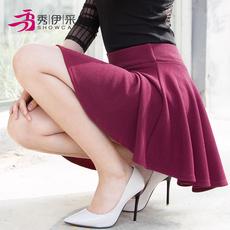 春夏新款女士高腰百褶半身裙大码打底蓬蓬太阳伞裙带安全裤短裙子