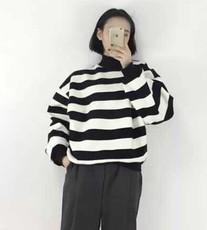春秋季女装韩版原宿风学生条纹半高领宽松套头长袖薄款卫衣女