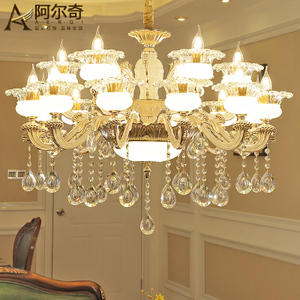 欧式水晶吊灯客厅灯现代简约餐厅灯卧室灯简欧玉石水晶灯复古灯具餐厅吊灯