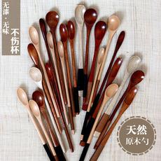 日式木质勺子 实木餐具zakka创意木勺子长柄蜂蜜勺茶勺咖啡搅拌勺