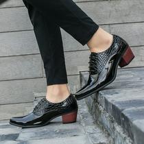 子男式欧版鞋 个性 潮男时尚 英伦漆皮男士 尖头高跟鞋 男鞋 皮鞋 增高鞋