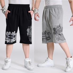男士嘻哈加肥加大码纯棉中裤 夏季薄款七分裤潮流短裤特大肥佬裤