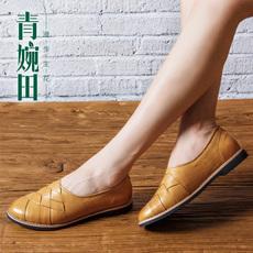 青婉田2015秋季新款田园平跟浅口单鞋女编织格子乐福鞋女真皮女鞋
