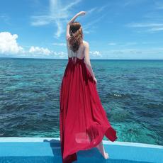 雪纺露背红色沙滩裙中长款海边度假女神显瘦海滩连衣波西米亚长裙