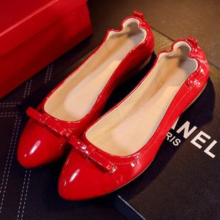 平底豆豆鞋2016红色新款真皮小红鞋孕妇单鞋漆皮黑色春秋蛋卷女鞋