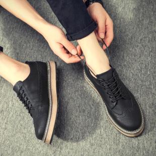 冬季加绒男鞋子布洛克男士休闲鞋保暖棉鞋潮流增高男板鞋英伦皮鞋