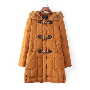 烨烨家◆拉系列品牌折扣剪标女装冬款狐狸毛皮中长款羽绒服31438
