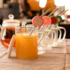 千易创意简约高硼硅夏日陶瓷水果玻璃杯子马克杯带盖勺不锈钢吸管