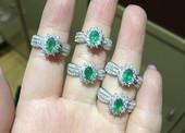 送妈妈 贵重珠宝 指环 天然祖母绿925银活圈戒指 手饰 送老婆