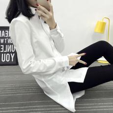 中长款 大码 白衬衫 修身 打底寸衫 bf风韩范2016春秋女装 韩版 女长袖