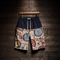 夏季民族风男士亚麻短裤男五分裤潮流日系潮牌休闲潮男沙滩裤中裤