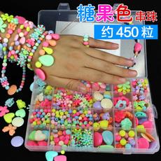 女孩手工串珠儿童益智玩具创意编织手链项链穿珠子制作DIY材料