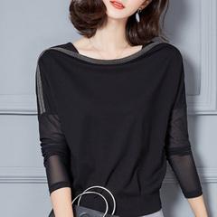 春季上衣韩版长袖t恤女宽松蝙蝠袖遮肚子大码显瘦衣服黑色打底衫