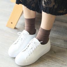 四季韩版袜子女棉袜女士短袜纯色配小白鞋女袜糖果色森系螺纹潮袜