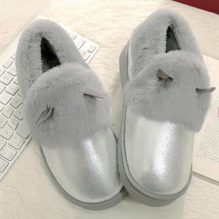 秋冬季棉鞋女生冬天保暖女棉鞋加绒厚底平底雪地靴防水短靴包子鞋