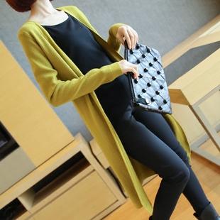 2016春秋季长袖针织衫女开衫中长款修身显瘦韩版薄款披肩毛衣外套