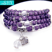 时尚 紫水晶星座手链女 韩版 百搭串珠手链多层手串手饰品配饰手环