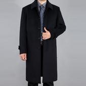 毛呢子羊绒大衣加厚呢外套风衣冬季 中老年爸爸男装 大衣过膝超长款