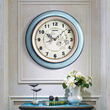 钟表 欧式创意轻奢挂钟客厅家用超静音时钟挂墙表卧室挂表美式时尚