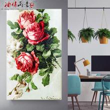 玄关竖版手绘填色家居客厅走廊风景花卉大幅装 diy数字油画 饰画