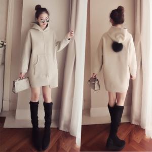 秋冬新款韩版毛球连帽套头毛呢外套女中长款宽松卫衣上衣呢子大衣毛呢大衣