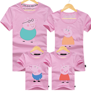 亲子装夏装母女装一家三口四口纯棉短袖T恤全家套装小猪佩奇童装亲子装
