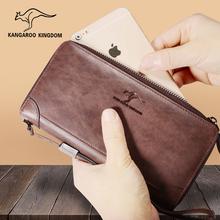 真澳袋鼠新款 皮夹子钱包男长款 拉链真皮多功能男士 手包复古牛皮