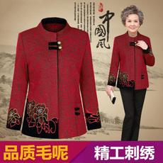 中老年妈妈装秋季毛呢外套 50-60岁女装老年人秋冬装70老人衣服装