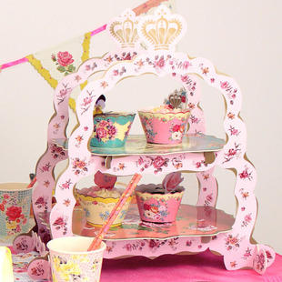 SANDWICH CAKE STAND Two Tier High Tea Stand 两层纸制蛋糕架盘
