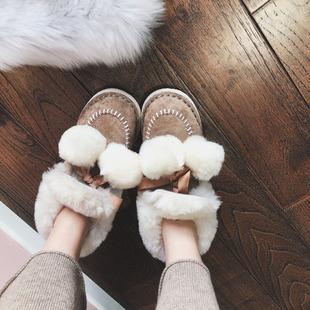 雪梨网红同款可爱蝴蝶结毛球球雪地靴女加绒棉鞋短靴鞋子2018新款