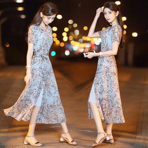 2017夏季新款女装韩版气质显瘦开叉雪纺裙子碎花印花长裙连衣裙女女装