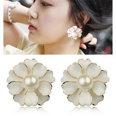 韩国超大水晶花朵耳钉 夸张珍珠耳环时尚水钻