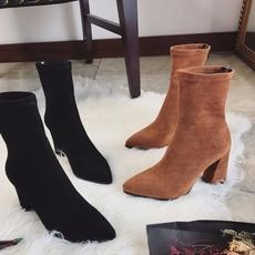 欧美2017秋冬新款绒面后拉链瘦腿袜靴中筒尖头高跟靴粗跟短靴女靴
