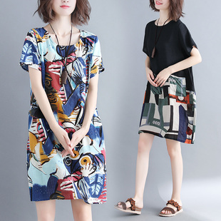 大码女装夏季减龄显瘦中长裙子微胖mm涂鸦印花棉麻拼接短袖连衣裙
