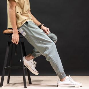 日系潮牌夏季棉麻束脚九分裤男薄款胖子宽松加肥加大码休闲运动裤