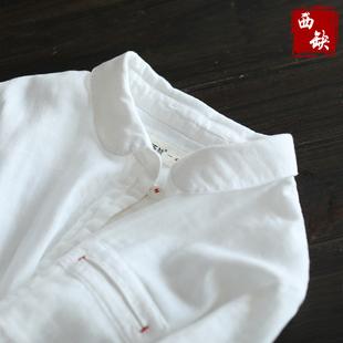西缺原创 手工红线 文艺中长款纯棉白衬衫女秋装新款休闲长袖衬衣