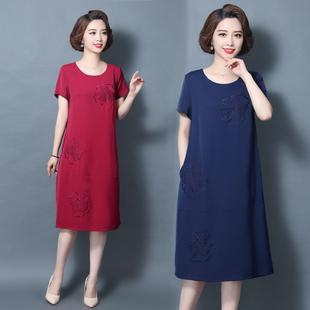 妈妈棉麻连衣裙45岁气质大码宽松中年短袖夏装中老年女装亚麻裙子