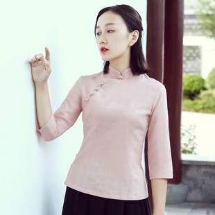 旗袍上衣女春改良时尚中式修身唐装棉麻茶服复古盘扣汉服日常短款