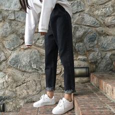 秋装女装2017新款韩版百搭宽松牛仔裤卷边阔腿裤九分裤学生直筒裤