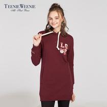 女装 Weenie小熊2017冬装 Teenie 加绒连帽中长款 卫衣女TTMW78V02I